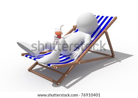 Tourist lying on a deck chair drinking a soda - stock photo