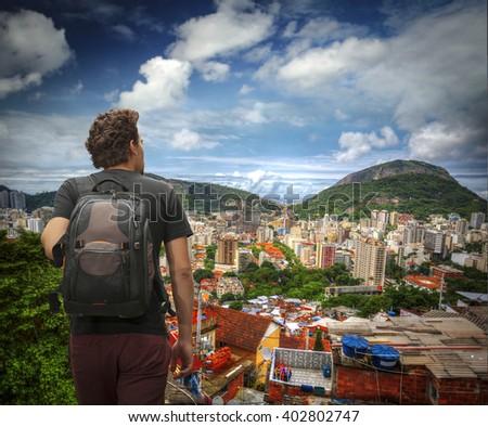 tourist man traveling through Rio de Janeiro. Brazil - stock photo