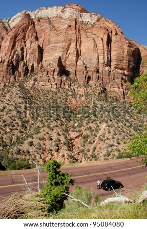 Tourist on a Road Trip at Zion National Park in Utah, USA - stock photo