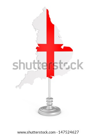 Tourist Sign England Map Rendering isolated on white - 3d illustration - stock photo