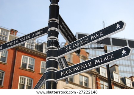 Tourist signpost in London - stock photo