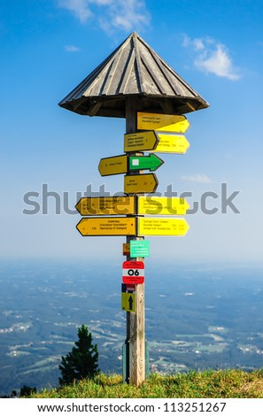 Tourist signpost on the edge of mountain in Graz, Austria - stock photo