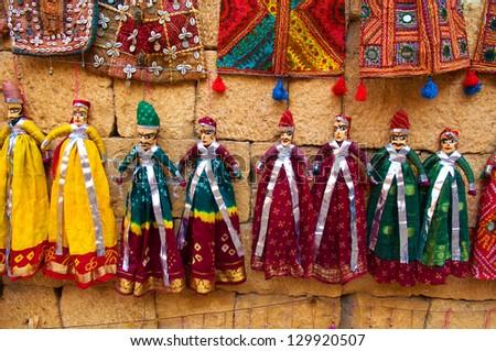tourist souvenirs indian puppet dolls of jaisalmer,rajasthan india - stock photo