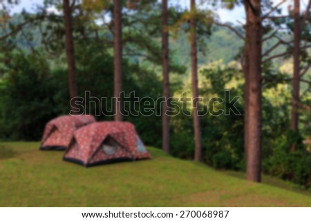 Tourist tent in forest camp among nature.blur background - stock photo