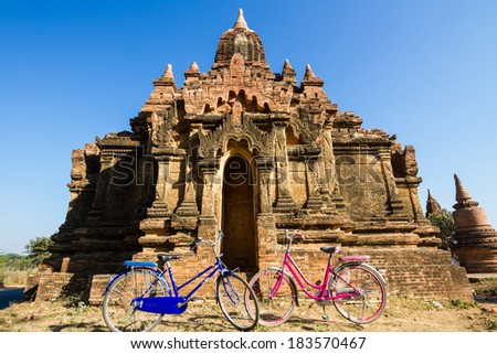 Tourist transport: bicycles outside a temple  in Bagan, Myanmar. - stock photo