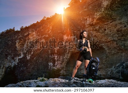 Tourist with a backpack - stock photo