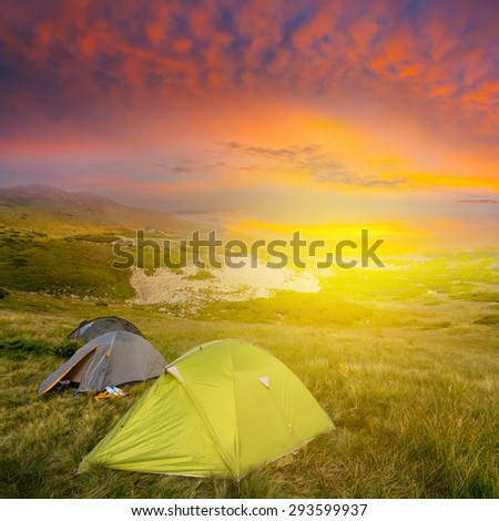 touristic camp among a prairie - stock photo