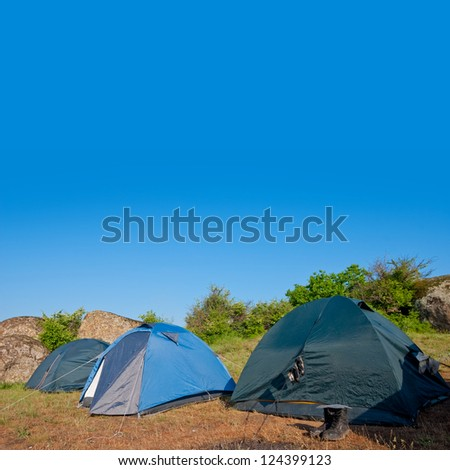 touristic camp in a steppe - stock photo