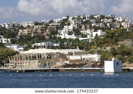 Touristic place Bodrum town in summer - Turkey - stock photo