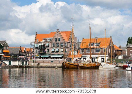 Touristic town of Volendam in Holland - stock photo