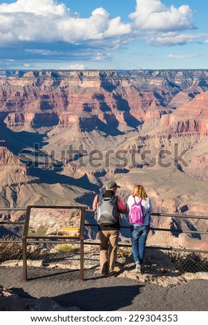 Tourists at Grand Canyon National Park, Arizona, USA - stock photo