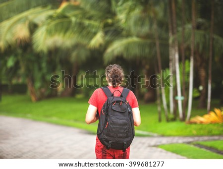 tourists in the jungle - stock photo