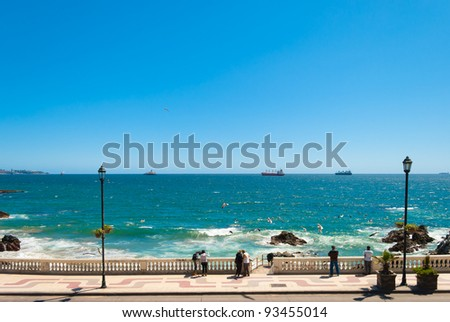 Tourists on a pathway in Vi?a del Mar, Chile - stock photo