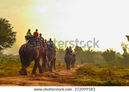 Tourists on an ride elephant tour in the forest. - stock photo