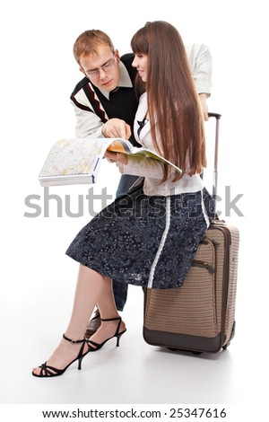 tourists with valise and map on white background - stock photo