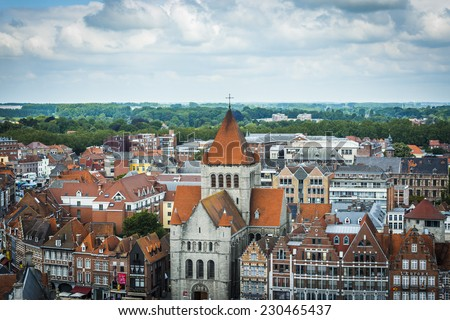 Tournai skyline as seen from the tallest belfry in Belgium. - stock photo