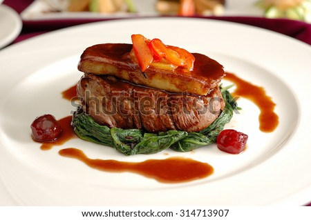 Tournedos Rossini. steak with foie gras. french steak dish with foie gras and croutons. - stock photo