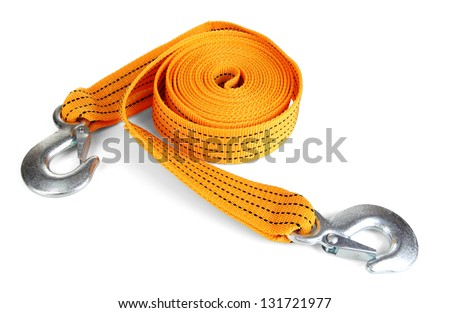 Tow rope for car isolated on white - stock photo