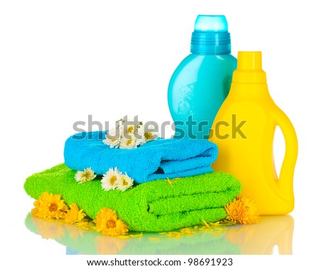 Towel and cleaning isolated on white - stock photo