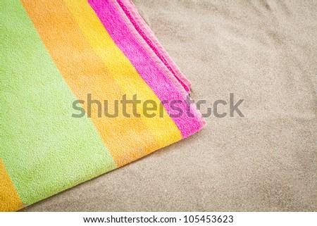 towel beach - stock photo
