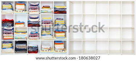 towels, bed sheets and clothes on the shelf, and ampty case - stock photo