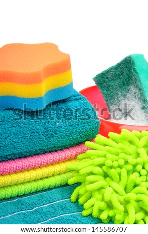 Towels, sponge, microfiber, bowl, supplies for cleaning isolated on white - stock photo
