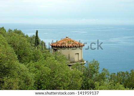 Tower and view at the Parc de la Colline du Chateau in Nice. Cote d'Azur. France - stock photo