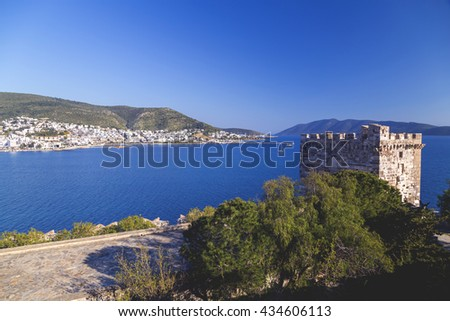 Tower at the ancient castle of St. Peters, Bodrum. Bodrum is one of the most popular tourist destinations in Turkey. - stock photo