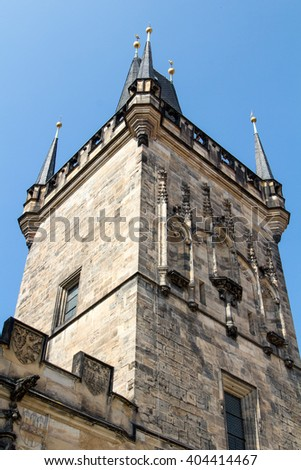 Tower at the Charles Bridge in Prague, Czech Republic - stock photo