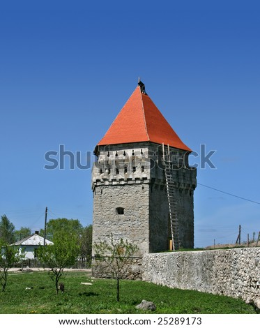 Tower at the ruins of ancient castle in Skalat (Ukraine) - stock photo