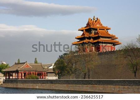Tower at the wall of the Forbidden City in Beijing, China - stock photo