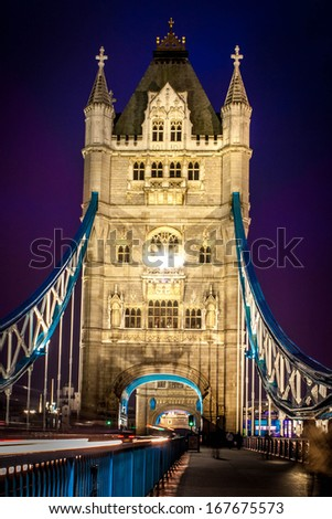 Tower Bridge and car lights trail in London, UK - stock photo