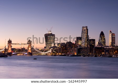 Tower Bridge and London skyline - stock photo