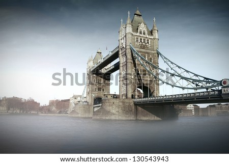 Tower Bridge and River Thames in London (UK) - stock photo