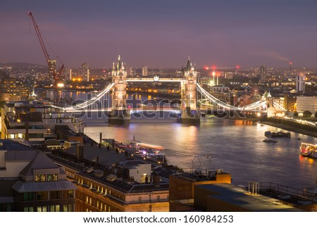 Tower Bridge and Tower of London top view, London, England, UK - stock photo