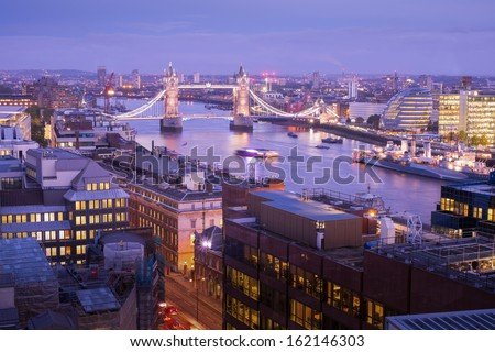 Tower Bridge and Tower of London top view, London England, UK  - stock photo
