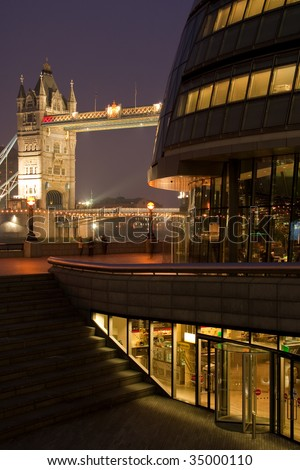 tower bridge and town hall by more london at night - stock photo