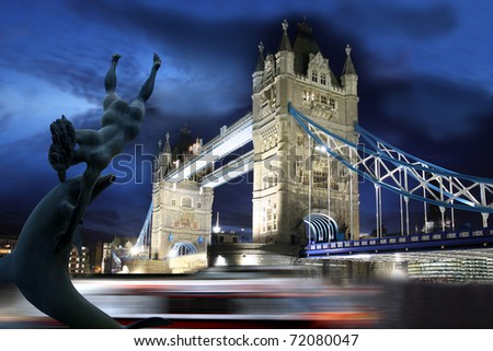 Tower Bridge at evening,  London, UK - stock photo