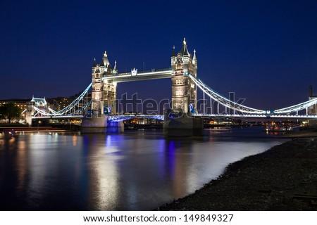 Tower Bridge at night - stock photo