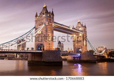 Tower Bridge at night twilight landmark of London, England, UK  - stock photo
