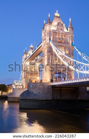 Tower Bridge at night twilight London, England, UK  - stock photo