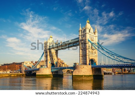 Tower bridge at sunny day, London - stock photo