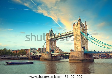 Tower bridge at sunset, London - stock photo
