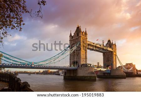 Tower Bridge at sunset twilight London, England, UK  - stock photo