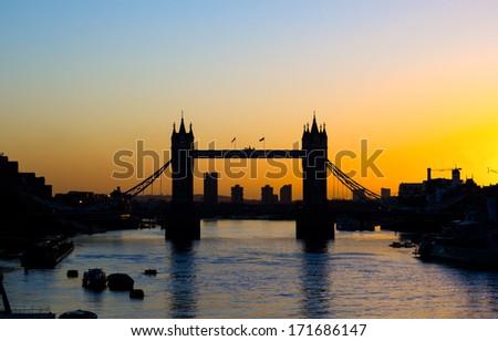 Tower Bridge in London at Sunrise - stock photo