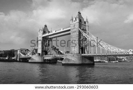 Tower Bridge in London - black and white photo - stock photo