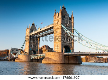 Tower Bridge in London in the late afternoon - stock photo
