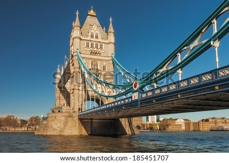 Tower Bridge in London on a beautiful sunny day, England. - stock photo