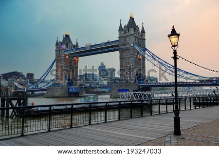Tower Bridge in London over Thames River as the famous landmark. - stock photo