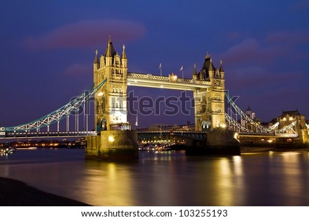 Tower Bridge in London, UK - stock photo